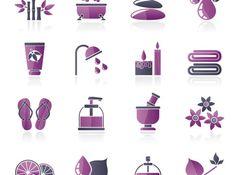 purple life vector icons