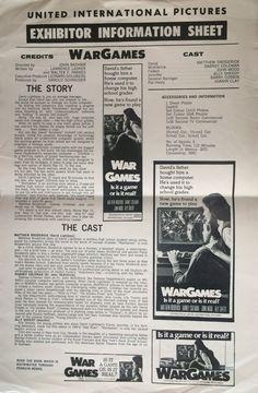 "Original Page Advert ""WarGames"" ( 1982 )"