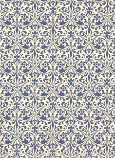Leipziger Vorsatzpapier  Blumenornamente blau,05