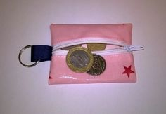 Oilcloth mini coin purse & key ring, Fits lip Vaseline, Pink with red stars,  £3.99