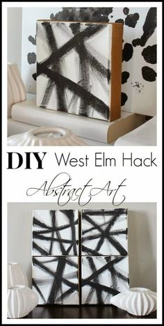 DIY West Elm Hack Abstract Art - save money and make your own art! www.settingforfour.com