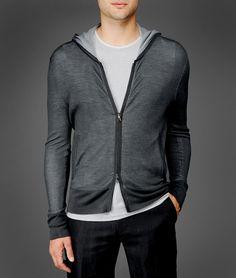 John Varvatos Long Sleeve Thermal Hooded Sweater