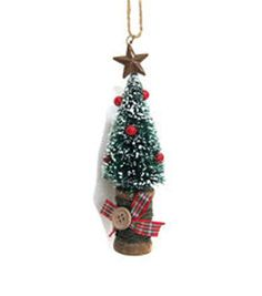 Holiday Cheer Green Tree Spool Ornament