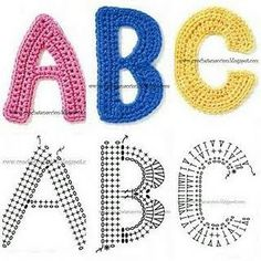 CROCHET #LETTERS #ALPHABET #A, #B, #C WITH DIAGRAM