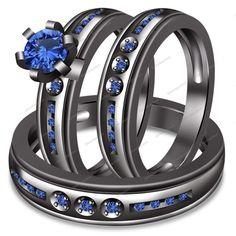 1.15CT Blue Sapphire Rd Peg Head Set Over 14k Black Gold FN Trio Engagement Ring…