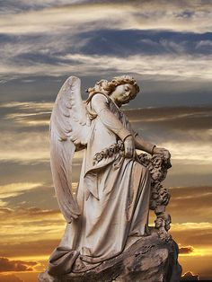 Cemetery Angel with an Amazing Sky Behind