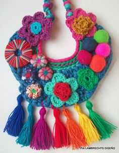 Diy Necklace, Crochet Necklace, Necklaces, Crochet Art, Crochet Shawl, Handmade Crafts, Handmade Jewelry, Mexican Jewelry, Textiles