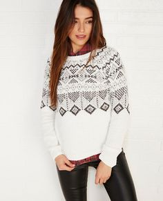 <p>The temps are dropping and it's time to bundle up! And what better way to stay warm than with this Iceland-inspired sweater by Almost Famous™. Details include a soft and cuddly chenille body, a diamond pattern jacquard design, and ribbed trim.</p>  <p>Model wears a size small.</p>  <ul> <li>Crew Neckline</li> <li>Long Sleeves</li> <li>Midweight</li> <li>Polyester / Acrylic</li> <li>Machine Wash</li> <li>Imported</li> </ul>