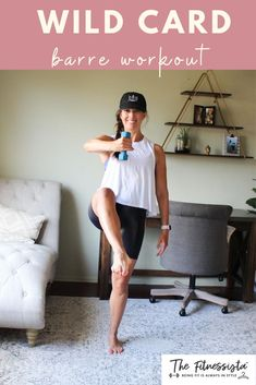 This workout video is a mix of bodyweight strength, cardio intervals, and dumbbell work. It's a fun barre workout you can do at home; all you need is a pair of light dumbbells or something to use for resistance. Add it to your fitness workout routine rotation! | Barre Workouts | The Fitnessista | Workout Routines For Women, Fitness Workout For Women, Easy At Home Workouts, Quick Workouts, Card Workout, Barre Workouts, Cardio, Belly Fat Workout, Strength Workout
