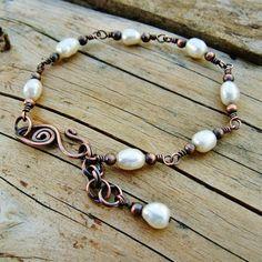 Freshwater Pearls Bracelet wire wrapped in by BearRunOriginals