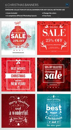 Christmas Web Banners Template PSD #design #ads #promote Download: http://graphicriver.net/item/christmas-banners/13856452?ref=ksioks
