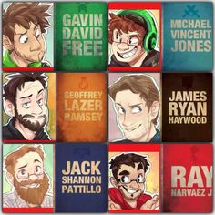 Achievement Hunter cartoon drawings with themed colour text ---- Art by padalickingood.