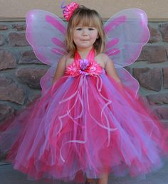 """Sale - PINK BUTTERFLY Halter Top Tutu Halloween Costume Dress Set, Includes Dress, LED """"Light Up"""" Wings & Flower Hair Clip -Sizes 12-24 - 5T"""