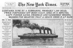 Lusitania torpedoed...1915