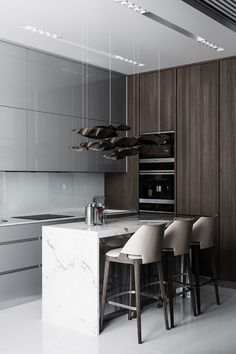 Kitchen decor in so popular and trending style, modern style! It looks so crazy and beautiful! Kitchen Room Design, Modern Kitchen Design, Home Decor Kitchen, Interior Design Kitchen, Kitchen Furniture, Home Kitchens, Furniture Design, Cuisines Design, House Design
