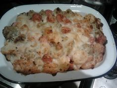 Baked pasta with cheese sauce and frankfurters - comfort food for when it was snowy!