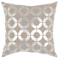 """Showcasing a links motif in a shimmering silver palette, this lovely linen pillow infuses your sofa or bed with a touch of glamour.   Product: Set of 2 pillowsConstruction Material: Linen cover and feather-down fillColor: SilverFeatures:  Links motifInserts includedMade in India Dimensions: 18"""" x 18"""""""