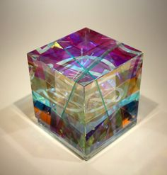 """Toland Sand - Cycle Cubes - glass  3 1/2"""" x 3 1/2"""" x 3 1/2"""""""