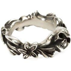 Werkstatt:München Floral Skull Ring ($379) ❤ liked on Polyvore featuring jewelry, rings, accessories, bracelets, metallic, skull head ring, silver skull jewellery, skull rings, silver jewellery and silver skull ring