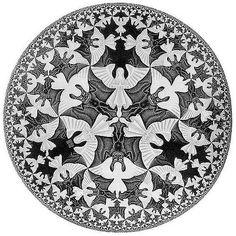 https://flic.kr/p/fPDkt | Límite Circular IV, Cielo e Infierno | (Grabado en madera, 1960). En esta obra Escher combina dos técnicas: por un lado, la partición regular del plano con un bello patrón combinado de ángeles y demonios, blancos y negros, que rellenan la escena sin huecos; por otro, el «límite infinito» de un modelo de disco de Poincaré. Este disco permite abarcar el infinito en un círculo de tamaño limitado, gracias a la geometría hiperbólica, en la que a medida que un punto se…