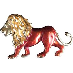 #MeowMonday at www.rubylane.com @rubylanecom -- Magical Enamel Lion Pin