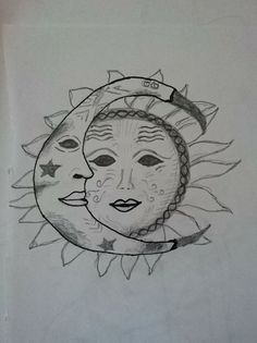 Drawing  #tattoo #moon #sun #sketch #ideas #diy