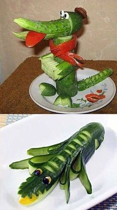 funny food - funny food for big and small cr - Food Carving Ideas Veggie Art, Fruit And Vegetable Carving, Veggie Food, Food Design, Cute Food, Good Food, Funny Food, Big Food, Fruits Decoration