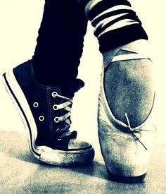 Wouldn't this be a beautiful drawing? All black and white except either one of the shoes (pink? red?)