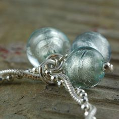 Light Blue Ice Venetian glass and sterling by southpawstudios