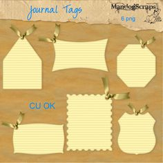 There are 6 matching journal tags with bows for your layouts
