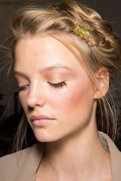 rosy cheeks + long eyelashes and hair wrapped in gold