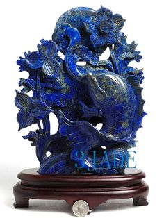 12+Natural+Lapis+Lazuli+Carving+Koi+Fish+Statue+by+3jadeEtsyStore,+$999.99