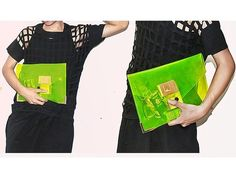 Unisex Envelope Neon Colour Silver Tips Transparent See Through Over Size Clutch   eBay