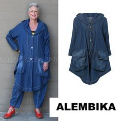 ALEMBIKA  J911  100% Cotton  PAINTER JACKET  Oversized Swing  S M L XL  DENIM #ALEMBIKA #OversizedSwingJacket #Versatile