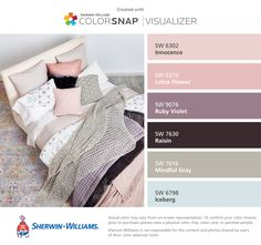 I found these colors with ColorSnap® Visualizer for iPhone by Sherwin-Williams: Innocence (SW 6302), Lotus Flower (SW 6310), Ruby Violet (SW 9076), Raisin (SW 7630), Mindful Gray (SW 7016), Iceberg (SW 6798).