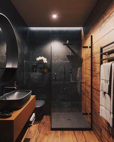 57 Modern bathroom that everyone should try this year - furnishings . - 57 Modern bathroom that everyone should try this year – Interior experts – Home interior design - Loft Bathroom, Dream Bathrooms, Small Bathroom, Master Bathroom, Wooden Bathroom, Coolest Bathrooms, Industrial Bathroom, Industrial Living, Bathroom Faucets