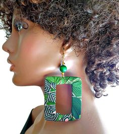 Large Green Square African Fabric Hoop by KheperaAdornments