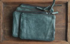 Simple Oil Tanned Leather Zip Pouch