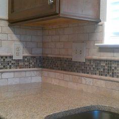 Kitchen - Backsplash Travertine Sub-Way / Liner and Glass Mosaic