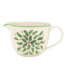 This batter bowl decorated with the traditional Holiday holly sprig motif will be a delightful way to start off your Christmas morning.