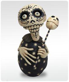 Dia de los Muertos - Black and White Skelly. $95.00 via Etsy.