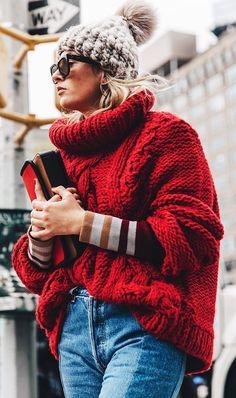 Chunky sweater + knit beanie.