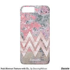 Pink Abstract Texture with Chevrons and Name iPhone 8 Plus/7 Plus Case - Gorgeous pink texture and marble chevron stripes personalized with your name. Fits iPhone 8Plus and 7Plus. You can choose the phone model you need! From DancingPelican on Zazzle.