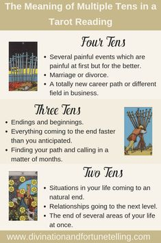 Multiple Tens in a Tarot Reading — Lisa Boswell Tarot Interpretation, Tarot Cards For Beginners, Tarot Card Spreads, Tarot Astrology, Tarot Card Meanings, Psychic Readings, Oracle Cards, Card Reading, Numerology