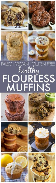 Healthy Flourless Muffins (V GF P DF)- The best clean eating muffins made with ZERO flour butter oil or refined sugar yet fluffy and delicious! Loads of diet options and perfect for breakfast and snacks! Gluten Free Baking, Gluten Free Desserts, Healthy Desserts, Healthy Breakfasts, Weight Watcher Desserts, Gluten Free Recipes, Baking Recipes, Whole Food Recipes, Sweets Recipes