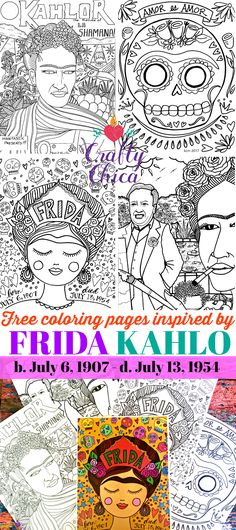 Frida Kahlo Coloring Page Luxury Free Frida Kahlo Coloring Pages the Crafty Chica Frida Kahlo Diego Rivera, Frida And Diego, Frida Kahlo Birthday, Freida Kahlo, Frida Art, Mexican Crafts, Atelier D Art, Hispanic Heritage Month, Anne Taintor