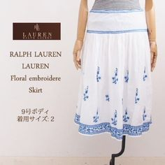 Ralph Lauren Linen Embroidered Skirt More Ralph Lauren is the skirt.  The light and cool cotton skirt with sheer fabrics.  Soft feminine sense of transparency and embroidered florals in blue yarn white back.!  What is not European taste is very stylish with skirt! Ralph Lauren Skirts Midi