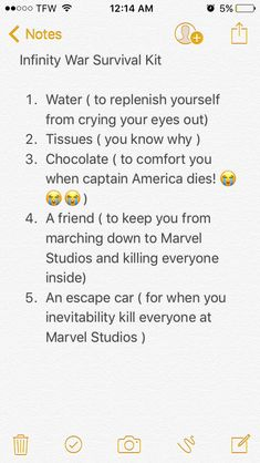 For all of you ladies and gents out there wondering how you're going to survive infinity war, I've created a kit to help you along the way. Safe Fangirling!