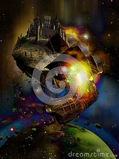 Medieval castle and caravel floating among stars and nebulas, close to a destructed planet.