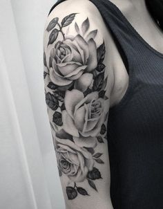 Rose half sleeve tattoo for girl - 100  Meaningful Rose Tattoo Designs  <3 <3
